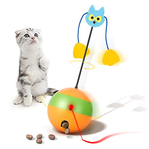 Mora Pets Cat Laser Toy Automatic Cat Toys Interactive Kitten Toy 3 in 1 Cat Toy Cats Ball Toy Interactive Cat Toys for Indoor Cats Treats Dispenser Tumbler Feather Toy