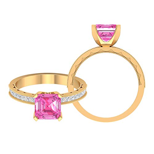 5 MM Asscher Cut Lab Created Pink Sapphire Solitaire Ring, D-VSSI Moissanite Princess Cut Ring, Milgrain Ring (AAAA Quality), 10K Yellow Gold, Size:UK F1/2