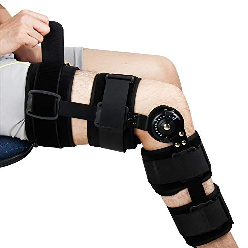 REAQER Hinged Knee Support Brace Dual Hinges and Adjustable Cross...