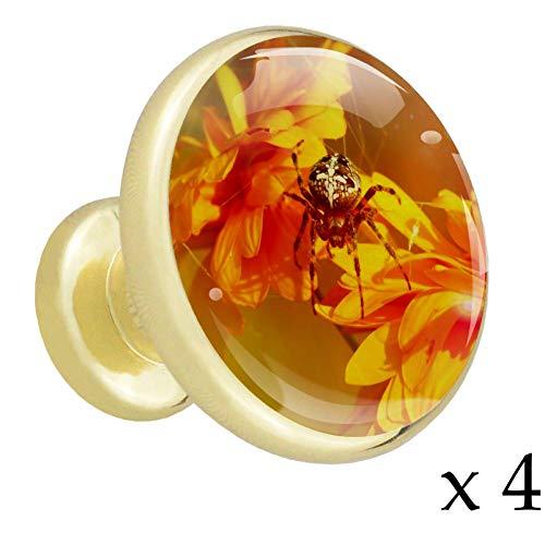 Spinnen-Chrysantheme Sun Golden 4 stück Messing Gold Runde Küche Türgriff und Zieht Kristall Schubladengriff Rose Gold Schmücken Schlafzimmer Badezimmer Wohnzimmer Kindergarten Büro 32mm
