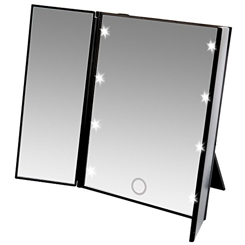 Lighted Travel Mirror 5X Magnifying with Folding Stand, Black
