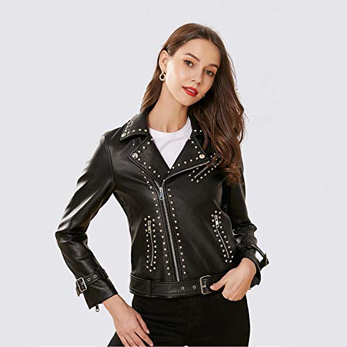 XL_nspiyi Damen schlanke Jacke mit Nieten besetzt Lederjacke-schwarz_M