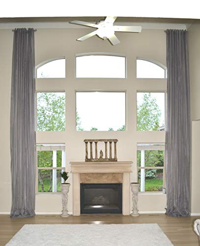 """Extra Long Sheer Voile Curtain Panel Custom Made Length for high Ceiling 2 Story. (17 ft (204""""), Gray with Grommet top)"""