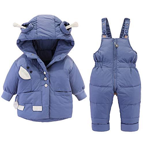 Winter Baby Schneeanzug Mit Kapuze Daunen Schneejacke + Skihose Daunenmantel 2 Stück Jungen Mädchen Kleidung Outfit Set Blau 18-24 Monate