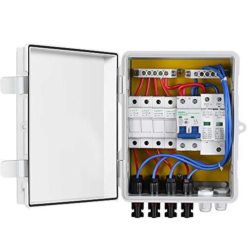 ECO-WORTHY 4 Saiten PV Combiner Box 10 A vorzubeugen mit Kunststoff ABS Cover Elektrische Box - Wasserdicht auslaufsicher Sicheren Schutz PV Combiner Box für Solar System Kit