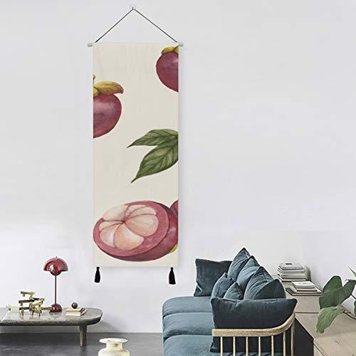 Mangostanes de frutas tropicales de verano Decoración de pared de arte vintage Tapiz de pared para niños 13 pulgadas de ancho x 47 pulgadas de largo Decoración moderna para el hogar Cocina Arte Deco