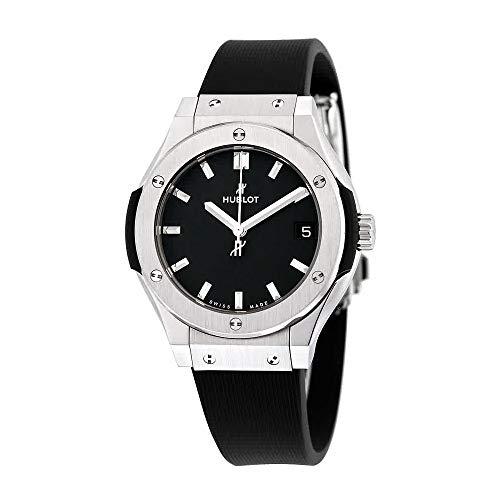 Hublot clásico fusión Negro Dial Negro Goma Mens Reloj 581nx1171rx