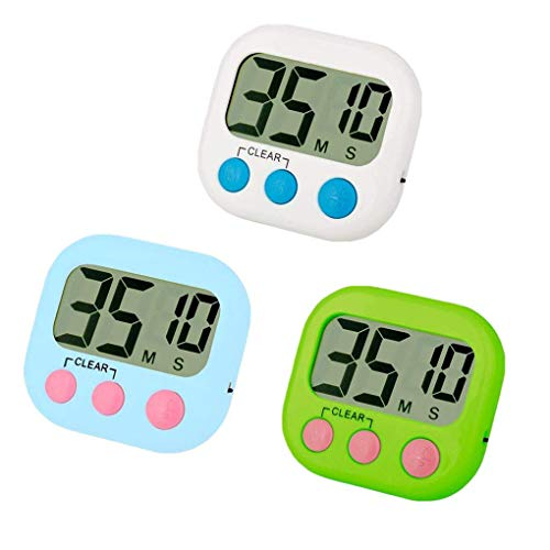 Kaxofang Kitchen Timer 3 Pack Small Digital Electronic Alarma Fuerte, El Respaldo Magnético, Encendido/Apagado, Minuto Segunda Cuenta Atrás/Arriba, Blanco, Verde y Azul