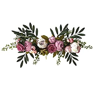 Silk Flower Arrangements Linxueyi Artificial Rose Flower Swag, 24 Inch Decorative Swag with Fake Roses, Green Leaves for Home Room Garden Lintel Wedding Arch Front Door Wall Decor-6