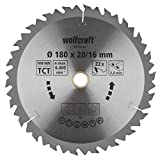 Wolfcraft 6734000 1 Lame de Scie Circulaire Ø 180 Mm, Ct, Alésage 20 Mm, 22 Dents, Surface Poncée, Denture Sablée Et Alternée argent
