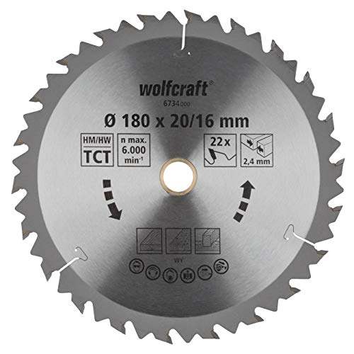wolfcraft 6734000 | Handkreissägeblatt HM | Serie braun | 22 Zähne | ø180mm
