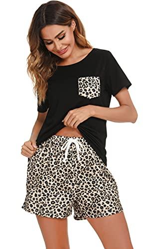 Lovasy Conjunto de Pijamas Mujer Verano Pantalones Cortos Mujer con Estampado de Leopardo de Algodón Suave Pijamas con Cordón de Bolsillo