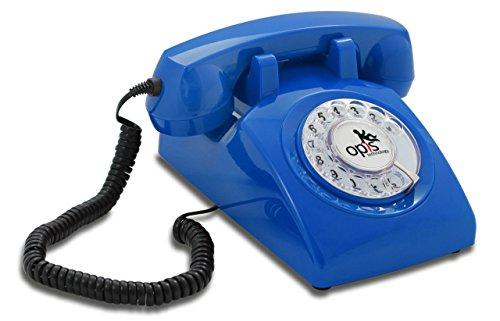OPIS 60s Cable con Logo de Opis Technology: Teléfono Estilo Retro/teléfono Vintage de los años Sesenta con Disco de marcar (Azul)