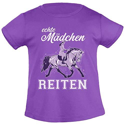 Kinder Reiter Outfit - Echte Mädchen reiten Mädchen T-Shirt 140 Lila
