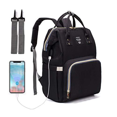 USB Mochila maternidade Lequeen original a pronta entrega e envio imediato Le Queen Preta USB