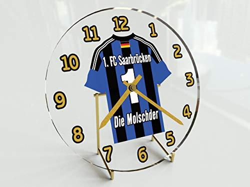 FanPlastic 3. Liga Deutschland Fußball Tischuhr - Fußball - 3.Liga Fußball, JEDER Name & Jede Nummer - NEUES ACRYL Shirt Design !!! (1. FC Saarbrücken)