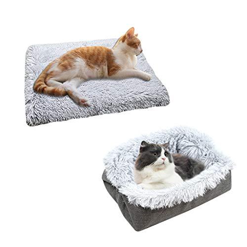 Chenso Cama para mascotas, 2 en 1, cojín para mascotas, casa para dormir, suave felpa antideslizante, para perros y gatos
