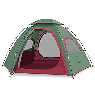 KAZOO Outdoor Family Tent Durable Lightweight, Waterproof Camping Tents Easy Setup, Beach Screen Tent Sun Shade 3 Person (Green)