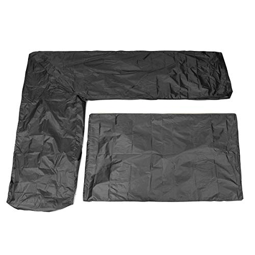 RanDal 2Pcs Wasserdichte L Shape Corner Garden Möbel Sofa Tisch Cover Rattan Protektor - Schwarz