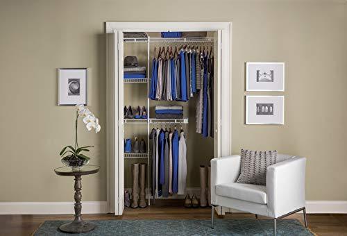 Rubbermaid Wardrobe Organizer, 3-5', Closet Shelves & Rods, Closet Organizer System, White