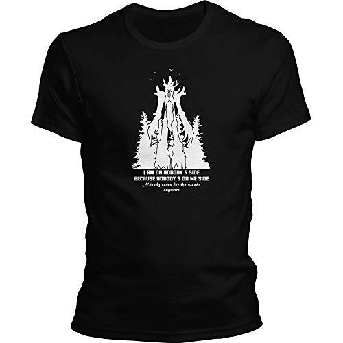 DragonHive Herren T-Shirt Herr der Ringe Ent Niemand Steht auf meiner Seite Wald, Größe:4XL, Farbe:Schwarz