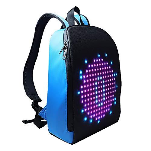 ZZJCY Smart Led Backpack Waterproof,Multi‑Function Ergonomic Laptop Backpack, Digital PIX Display14 Inch Laptop Daypack for Boy Girl Gift,Blue