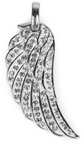 styleBREAKER glitzernder Flügel Anhänger mit Strassteinen, Engelsflügel, Damen Schmuck 05030003, Farbe:Silber