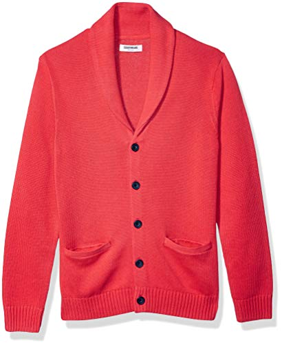 Amazon Brand - Goodthreads Men's Soft Cotton Shawl Cardigan, Red XX-Large