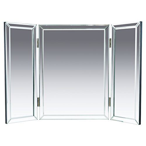 "Houseables Trifold Vanity Mirror, 3 Way, 31"" x 1"" x 21"", Single, Tri Fold, Big Mirrors For Tables, Bedrooms, Bathroom, Makeup, Tabletop, Centerpiece, Three Part, With Beveled Edges"
