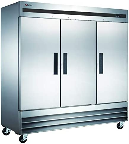 Vortex Refrigeration Refrigerator 3 Solid Door Commercial Stainless Steel 72 Cu Ft product image
