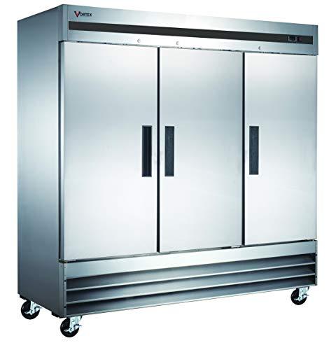 Vortex Refrigeration Refrigerator 3 Solid Door Commercial Stainless Steel- 72 Cu. Ft. …