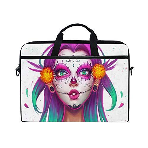EZIOLY Sugar Skull Girl Painting Laptop Shoulder Messenger Bag Case Sleeve for 13 Inch to 14 inch Laptop