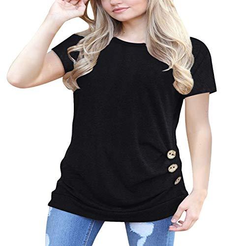 Camiseta de Manga Corta con decoración de Botones para Mujer Mujer