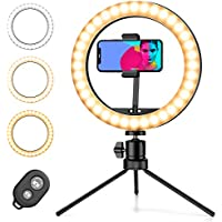 Amada 10 Inch Selfie Ring Light with Tripod Stand & Phone Holder