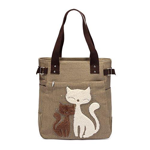 KAUKKO Premium Canvas Shopper Taschen Umhängetasche Damen Handbag Schultertasche, Khaki