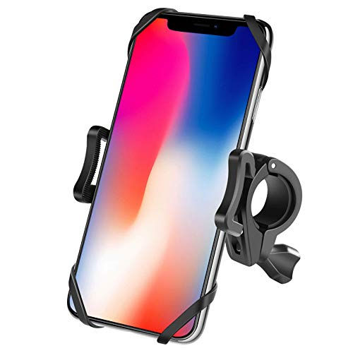 Newppon Bike & Motorcycle Phone Mount : Detachable 360° Rotation Bicycle Cell Phone Holder for Handlebar of Scooter Stroller Treadmill ,Compatible with iPhone 12 Pro Max SE X Xs 8 Plus Samsung Galaxy