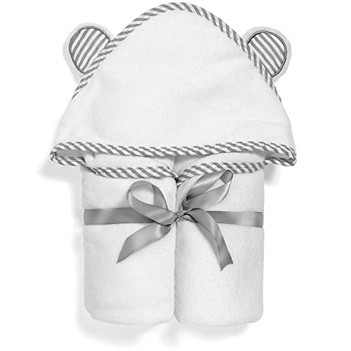 Ultra Soft Organic Bamboo Hooded Baby Towel and Free Washcloth - Soft Hooded Bath Towels for Boys and Girls - Ultra Absorbent, Quick-Dry, Hypoallergenic