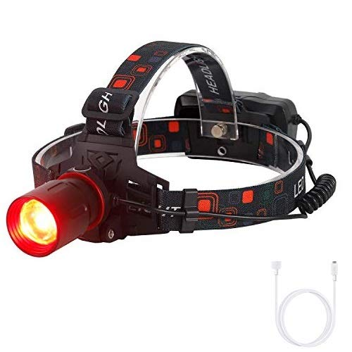 Linterna Frontal con luz roja, 1000 lumen linterna frontal recargable roja led Zoomable para caza, astronomía, visión nocturna, camping (Solo rojo)