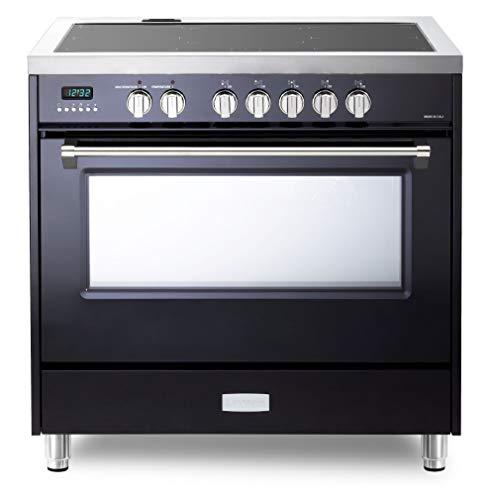 Verona Designer Series VDFSIE365GB 36 Inch 5 cu.ft Induction Range Oven Freestanding, 5 Elements Smoothtop Cooktop, Convection Gloss Black
