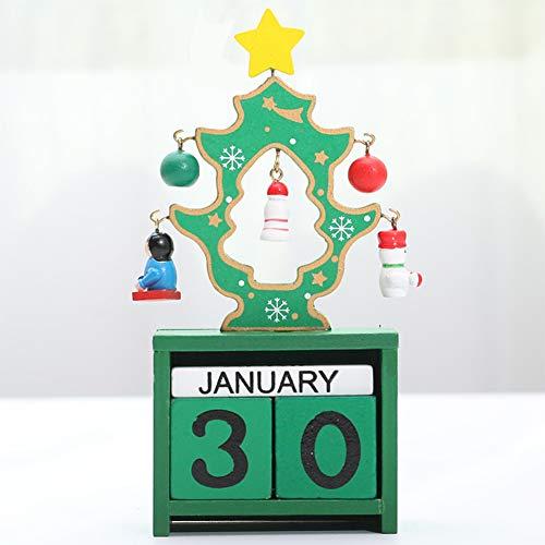 YUANZHU Calendario De Cuenta Regresiva De Navidad Bloques De Madera Calendario De Escritorio Perpetuo Soldado De Nogal Decoración para Niños Decoraciones,Verde