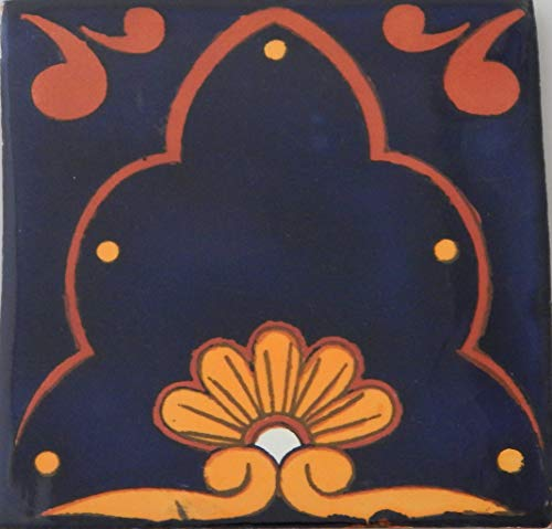 COLOR Y TRADICIN Mexican Talavera Tiles Handmade 6x6 Stairs Backsplash 4 pcs C054