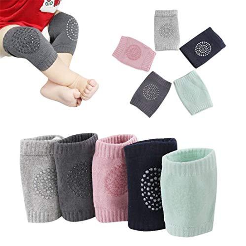 Rodilleras antideslizantes para bebés, ajustables y transpirables, de algodón para bebés y niños, anticaída, unisex, para bebés, niños y niñas, protector de seguridad, 5 pares