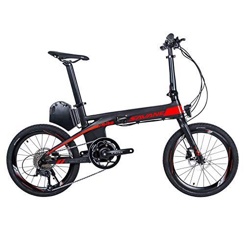 SAVADECK E8 Bicicletta elettrica Pieghevole, 20' E-Bike in Fibra di Carbonio 200W Pedelec Bicicletta Pieghevole con Batteria Shimano Sora 9 velocità e Batteria Rimovibile 36V/8.7Ah agli ioni di Litio