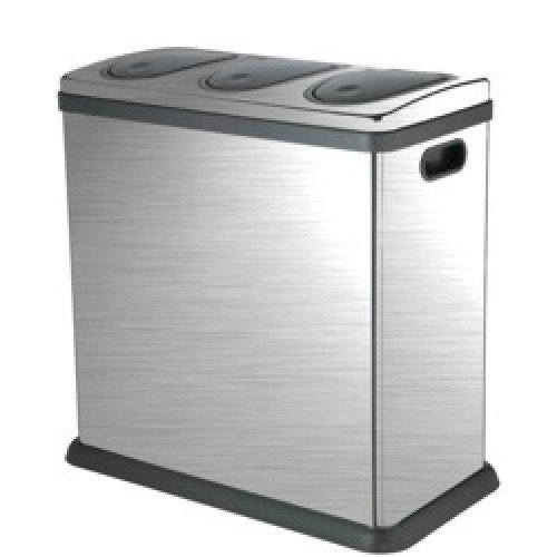 Laundry Company Trio 60 Litre Brushed Stainless Steel Kitchen Home Recycling Bin