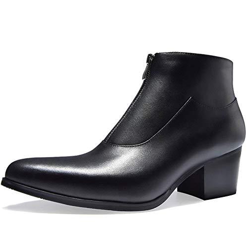 Enjoy4Beauty - Botas de trabajo de piel auténtica de alta calidad con cierre de tacón alto y puntera puntiaguda (forro polar opcional) (color: negro, talla: G-37)