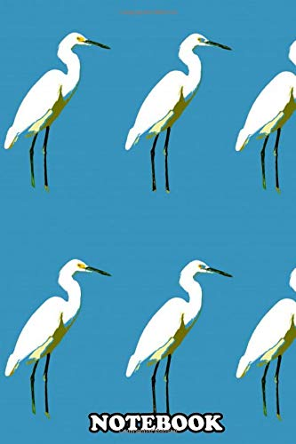 Notebook: Pop Style Art Of Great White Egrets Set Against An Ocea , Journal for Writing, College Ruled Size 6