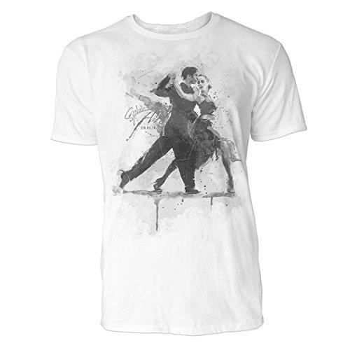 Tanzpaar Sinus Art ® Herren T Shirt (Schwarz Weiss) Sportshirt Baumwolle