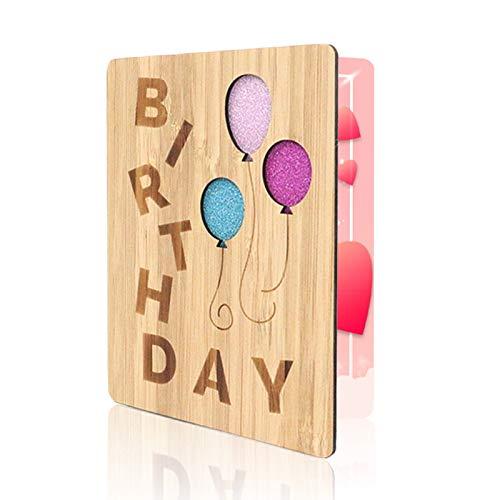 Clheatky - Biglietti d'auguri di buon compleanno, in legno di bambù, fatti a mano, utilizzati per...