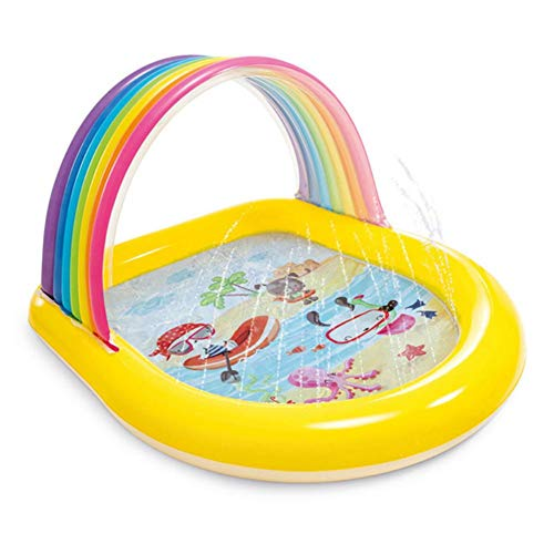 QUUY Regenbogen Planschbecken BabyPool PVC Splash Spielmatte, Wassersprühmatte Sprinkle Splash Wasserpad Summer Fun Splash-Pool Wasserpark Für Kinder Familie 147 × 130 × 86CM