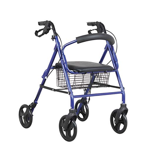 Wave Medical 4 Wheel Medical Rolling Walker with Wheels, Seat, Backrest and Storage Pouch, Rollator Walker for Seniors, 8-inch Wheels (Blue)